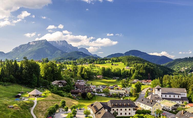 Schönau a. Königssee, Ortsteil Unterstein mit Blick zum Untersberg